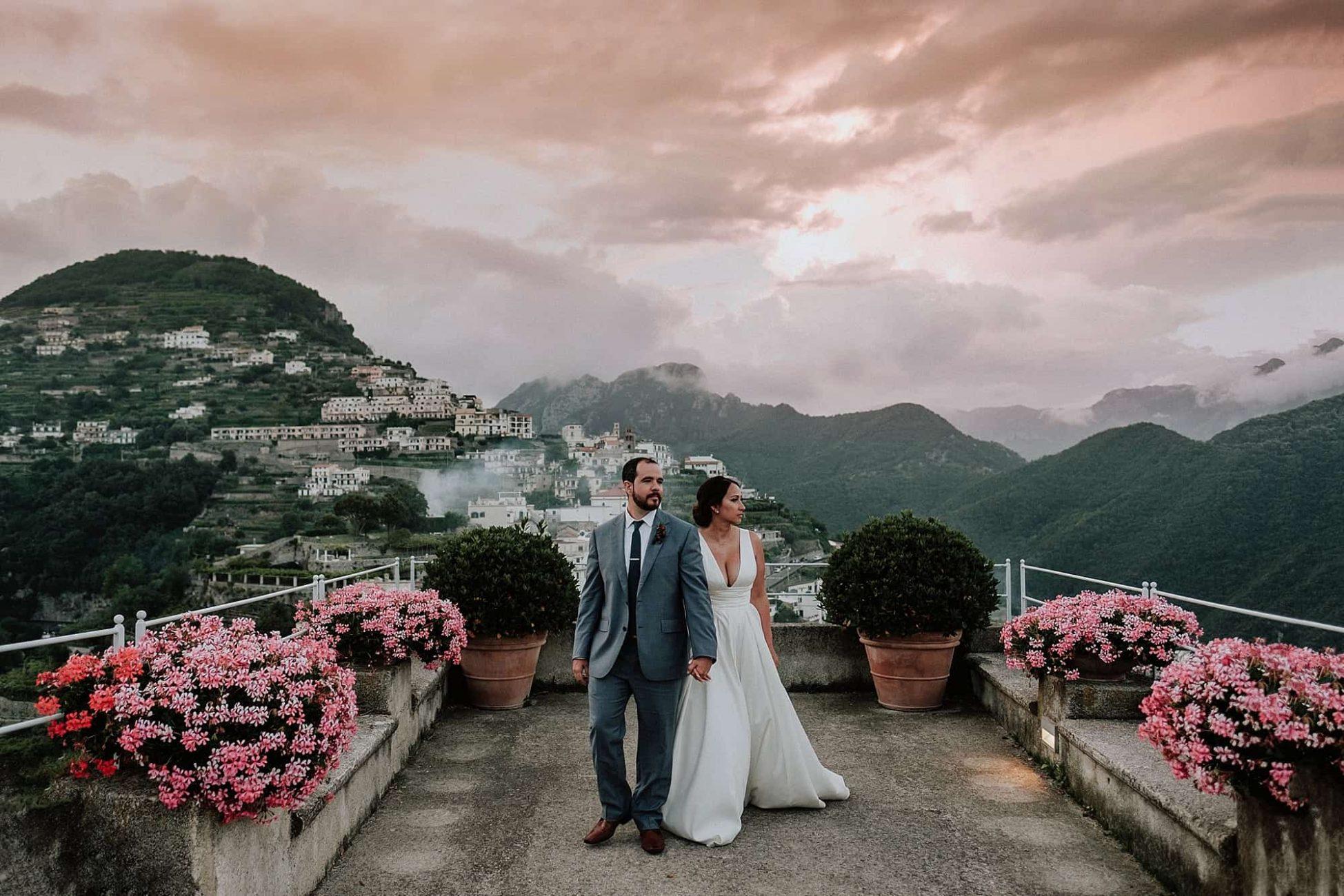 iconic sunset over ravello hotel caruso wedding