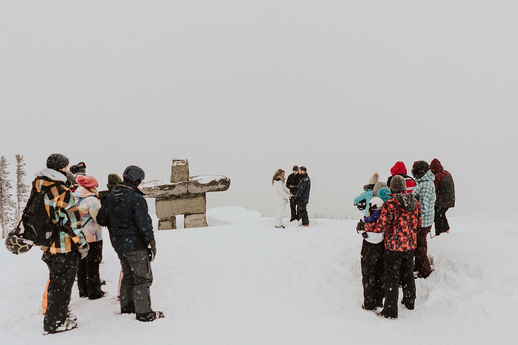 whistler mountain top skiing wedding