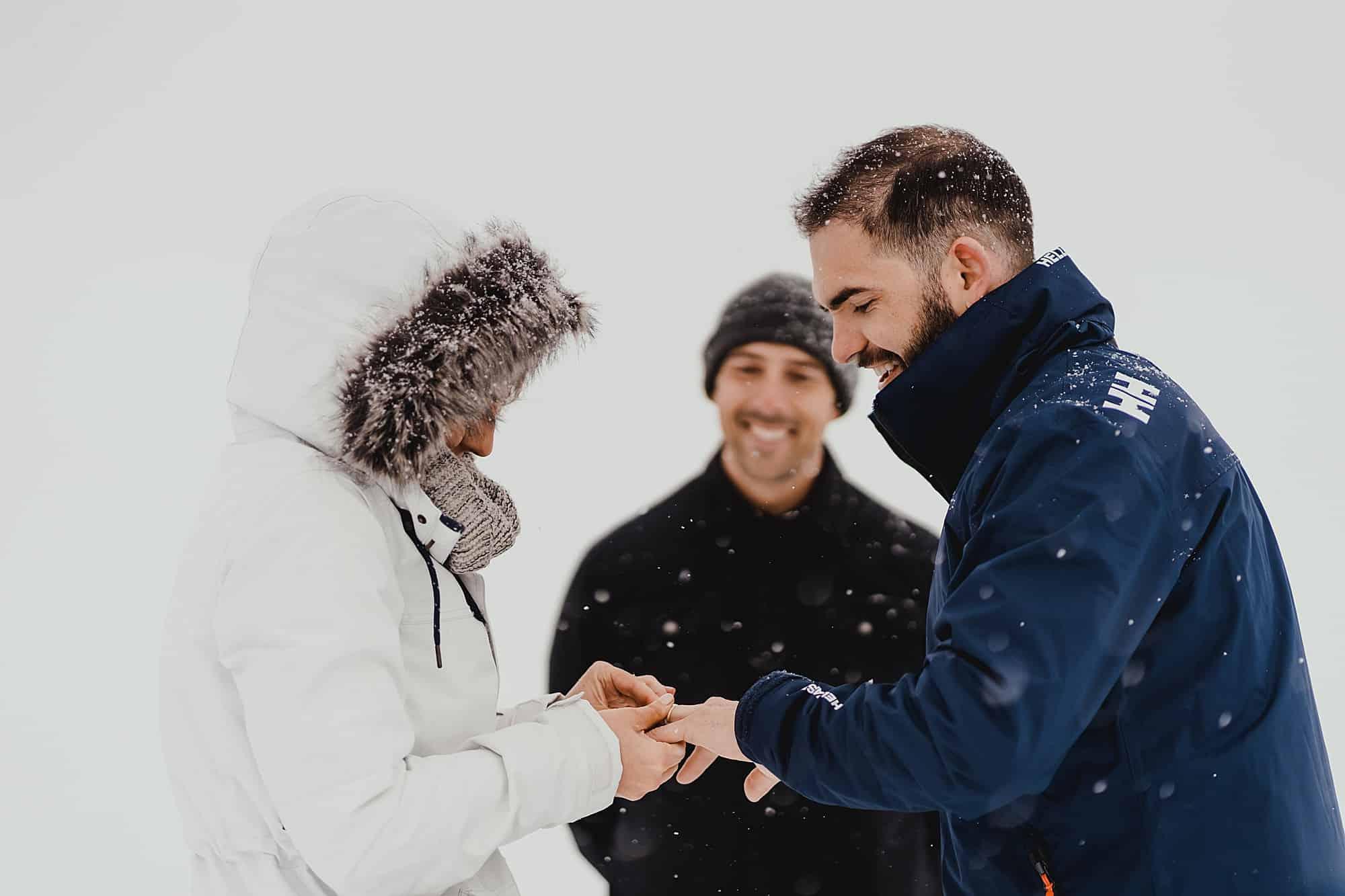 ring exchange whistler skiing wedding
