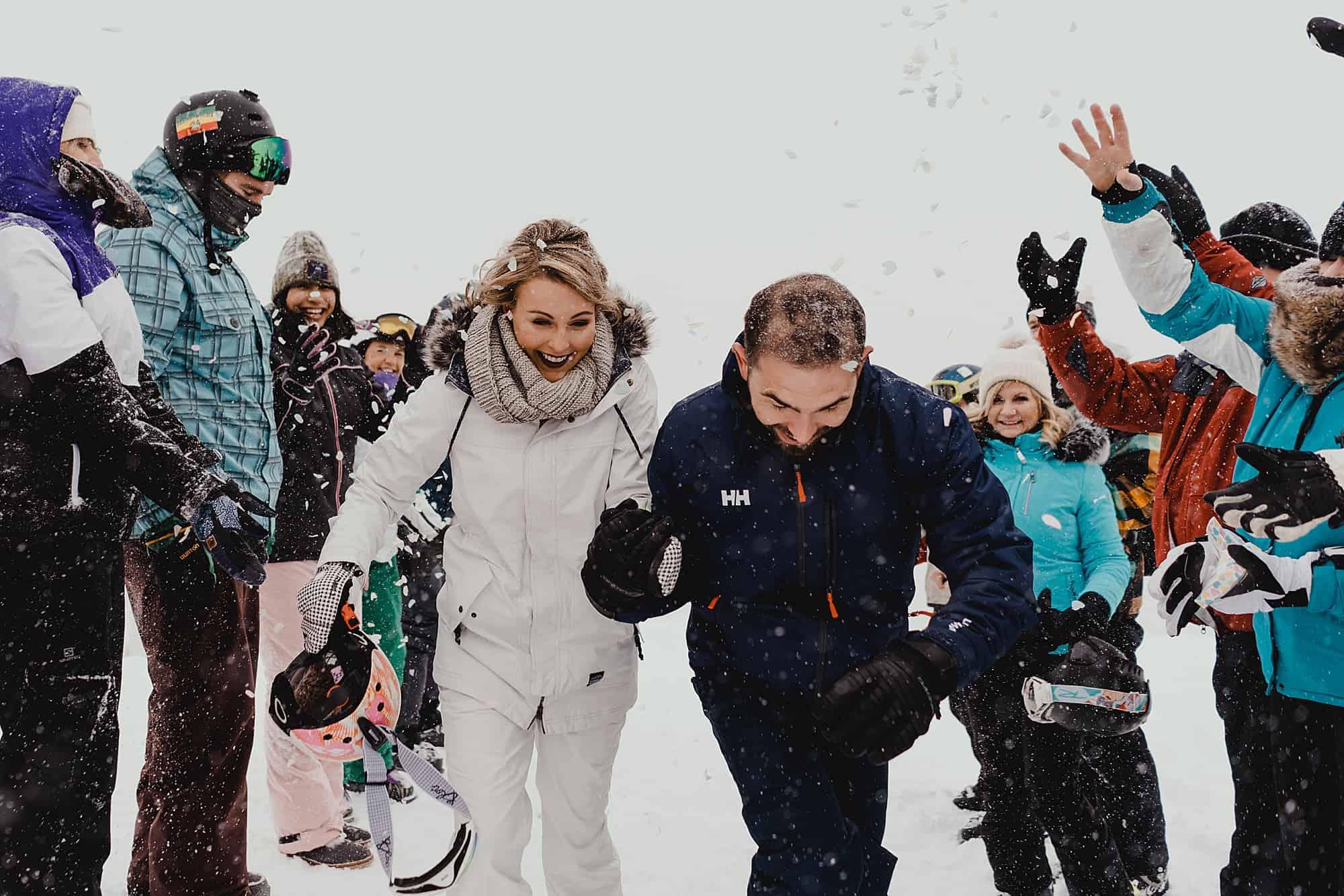 snow confetti whistler skiing wedding