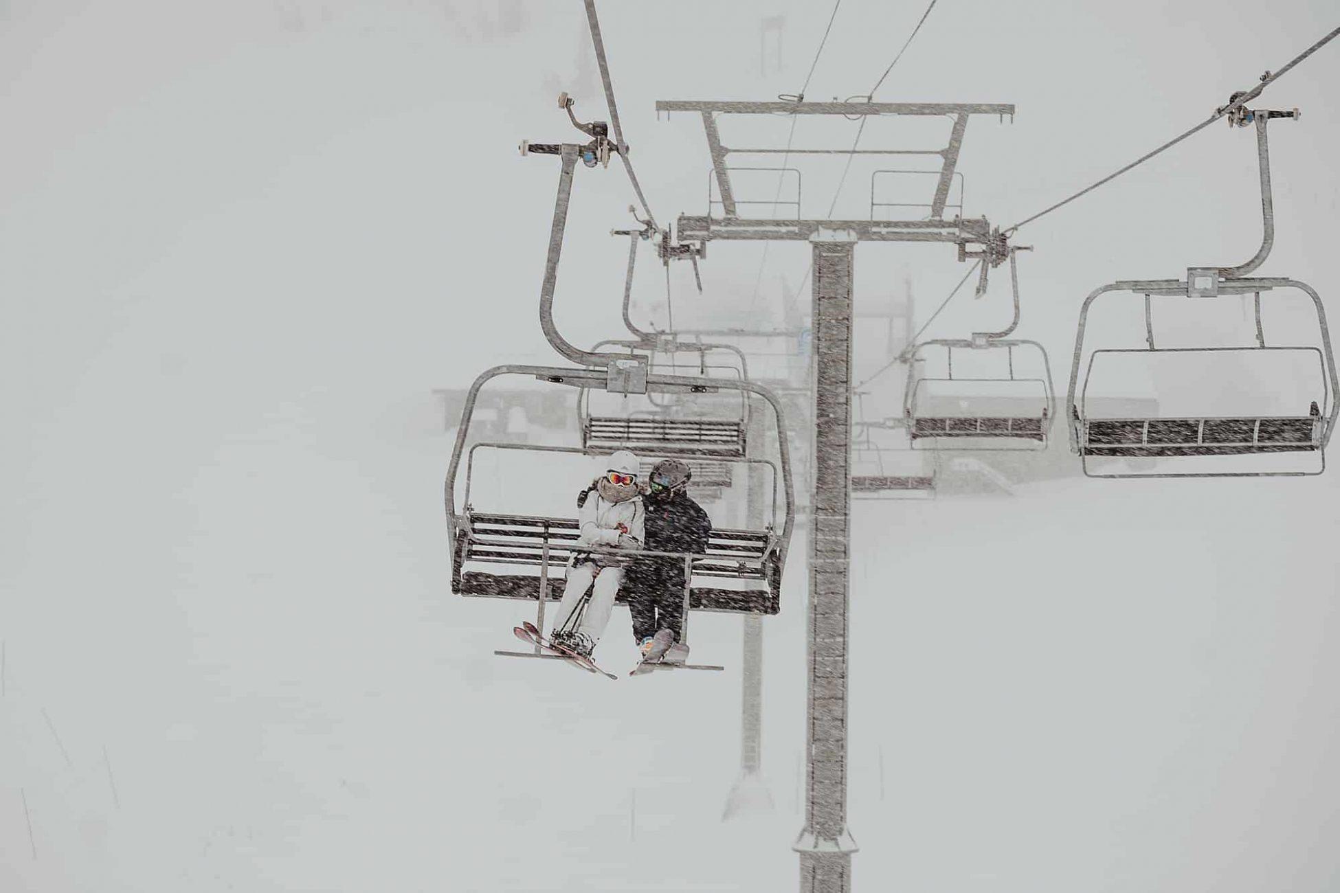 bridge groom chairlift ride whistler skiing wedding