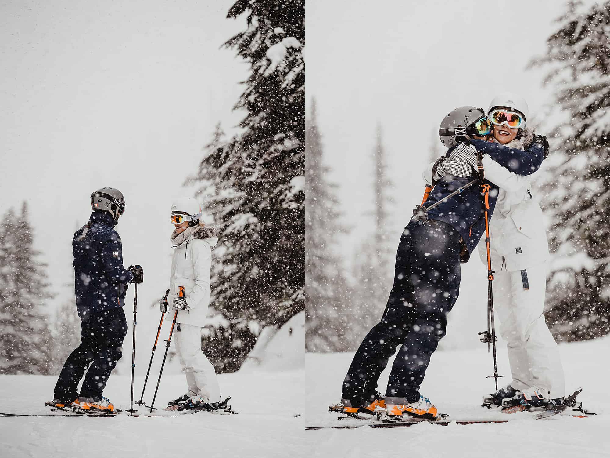bridal portraits whistler skiing wedding