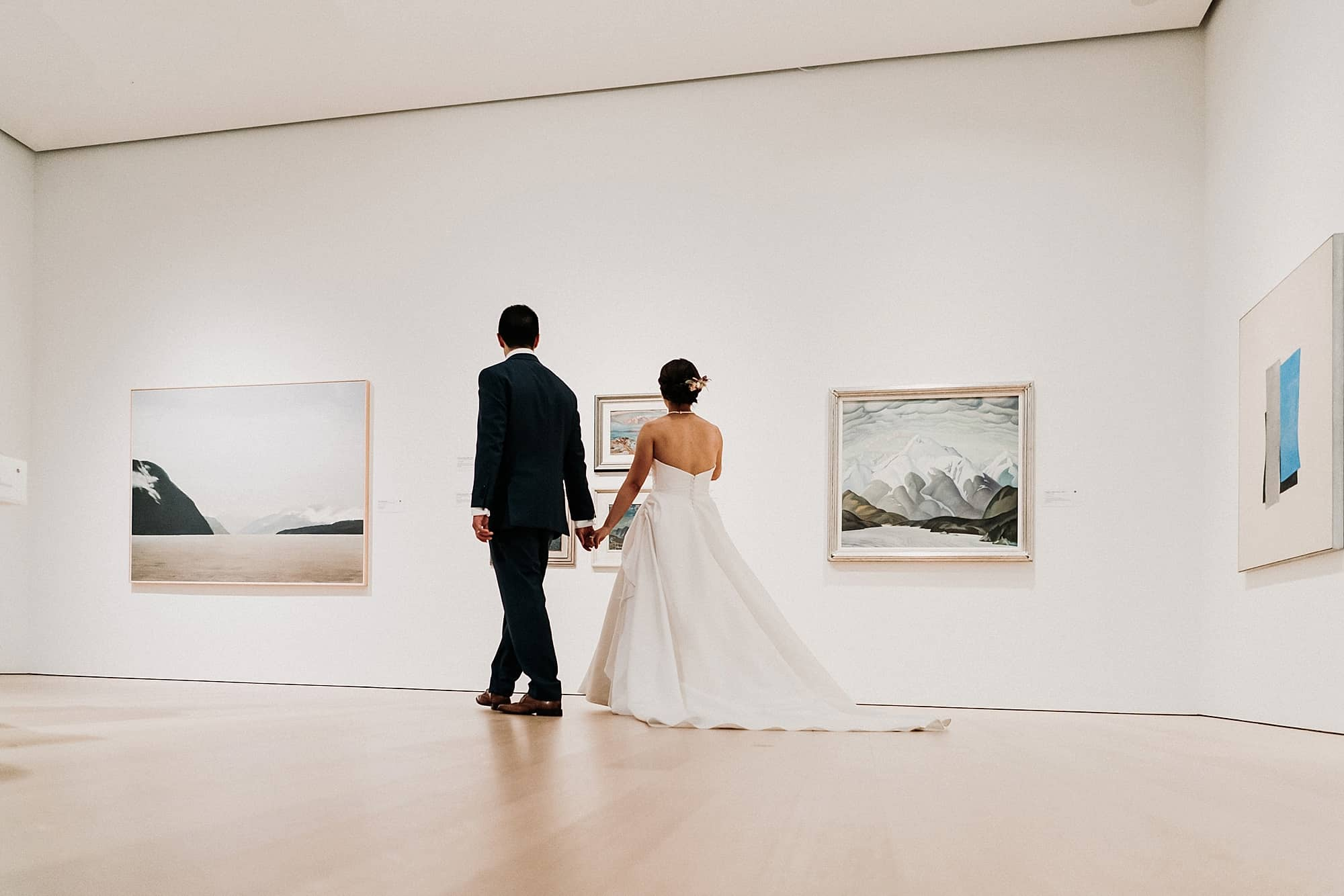 couple looking at art in audain art museum