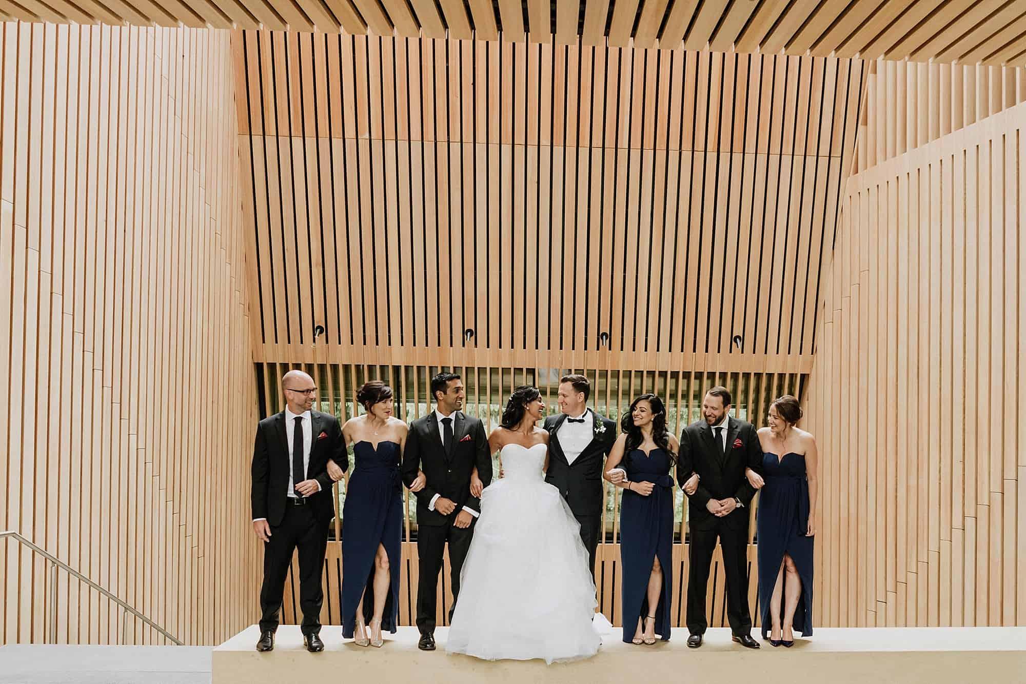 wedding party portrait at audain art museum