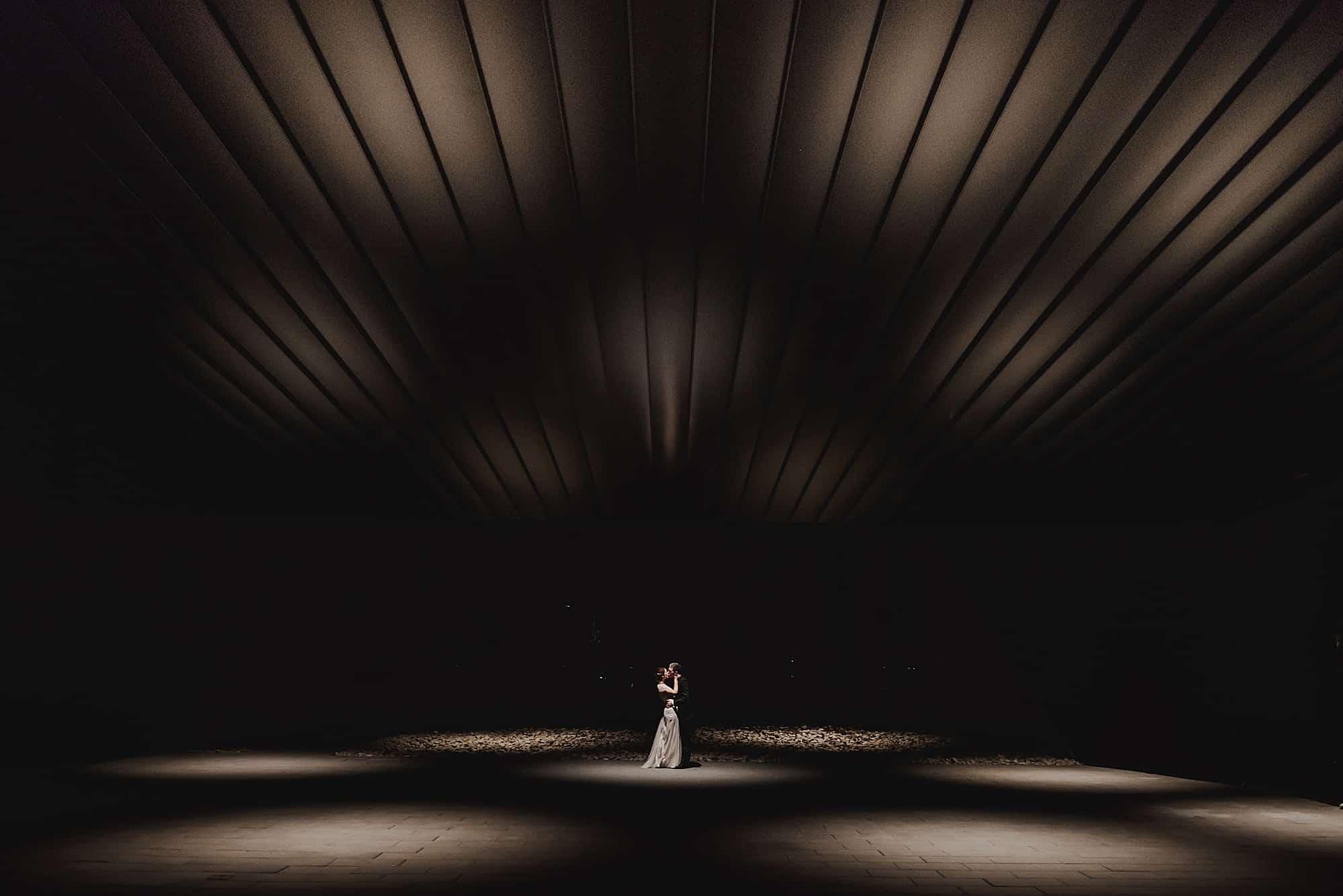 night portrait of wedding couple audain art museum