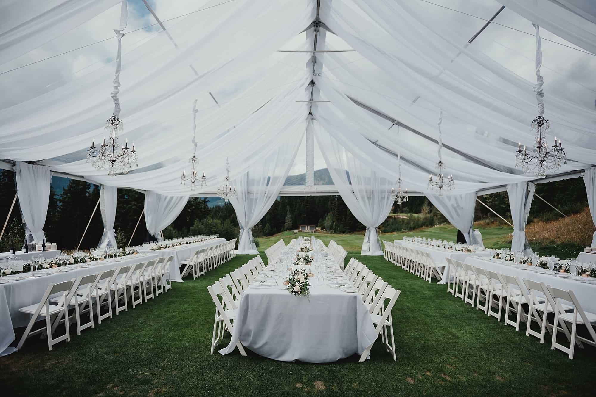 tent wedding reception at whistler fairmont mountain view lawn