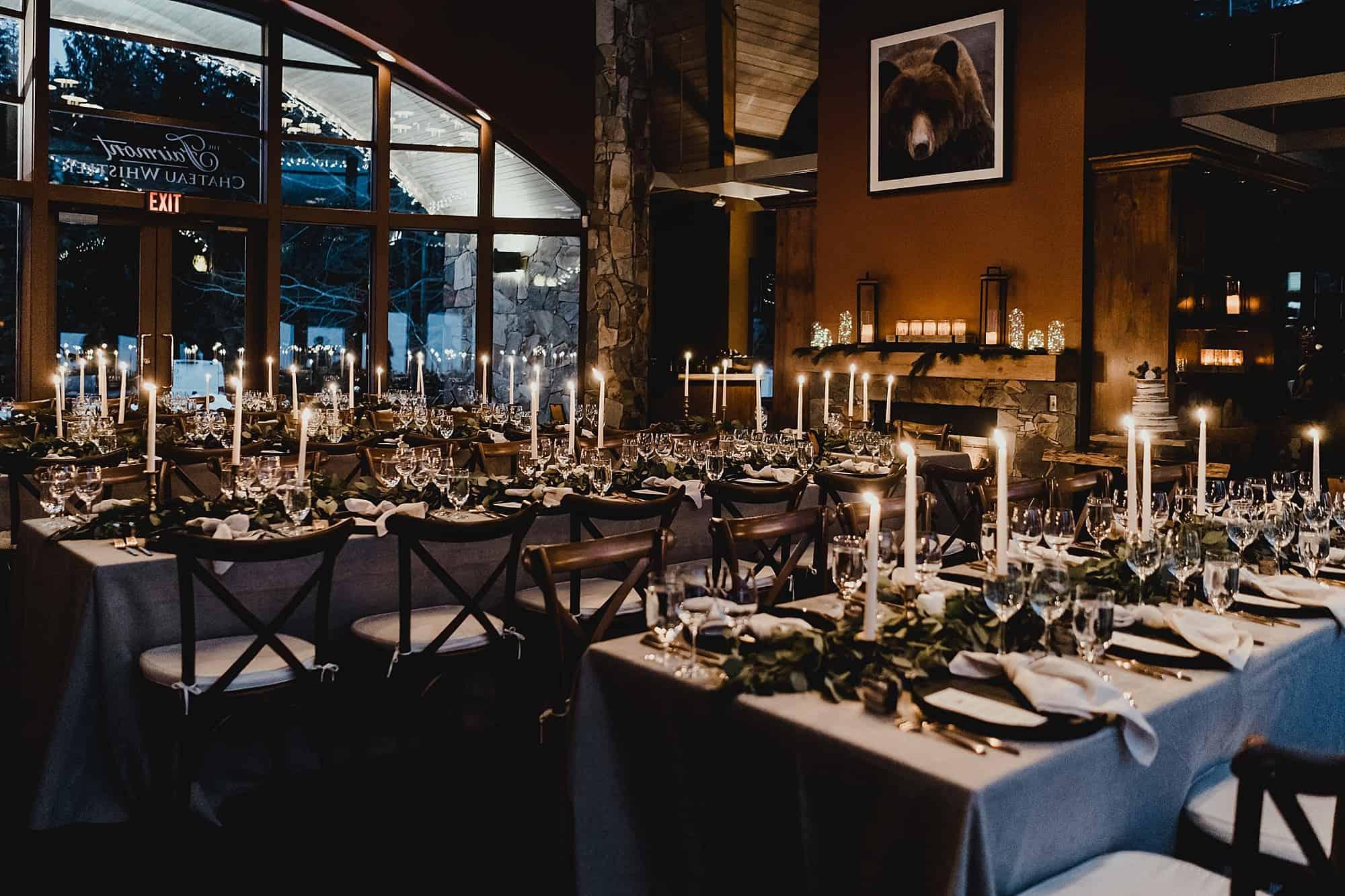 reception setup for chalet fairmont whistler wedding