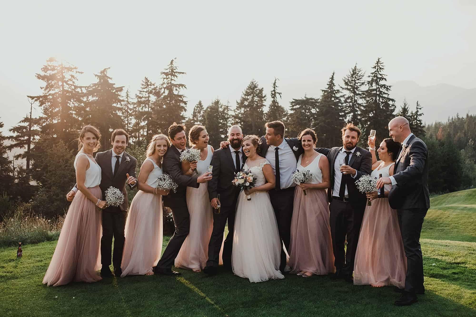 wedding party at mountain view lawn whistler