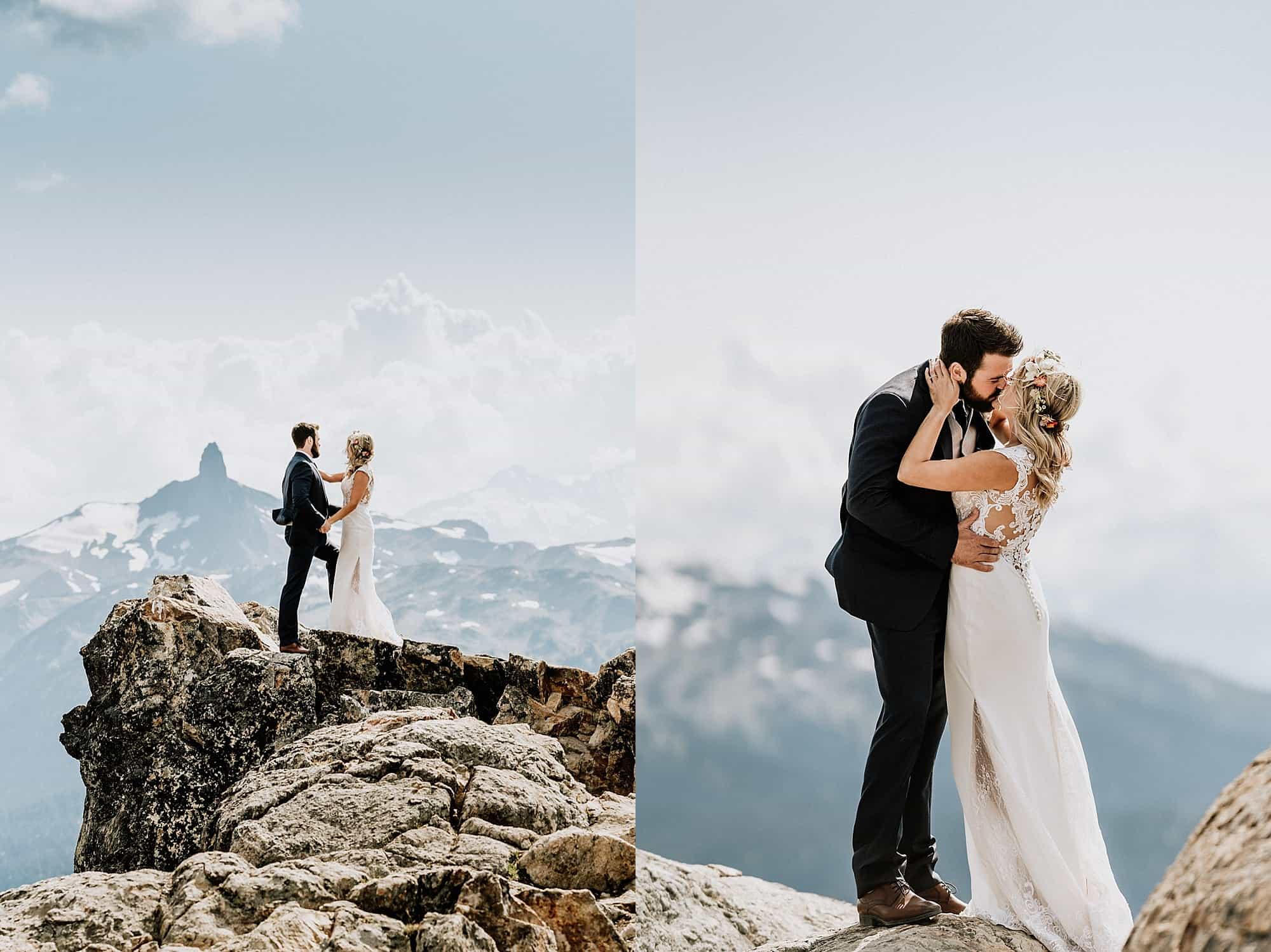 bride and groom pictures on mountaintop