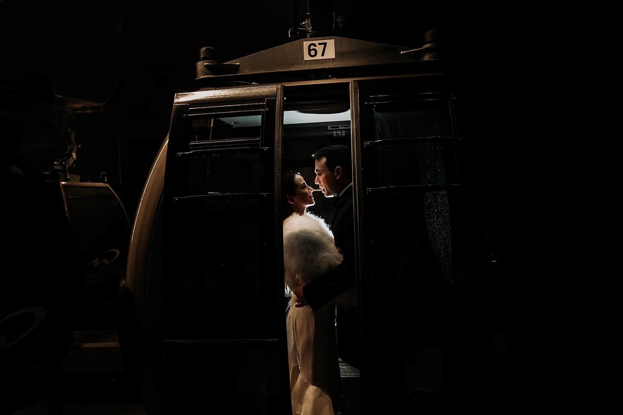 gondola wedding photos at night